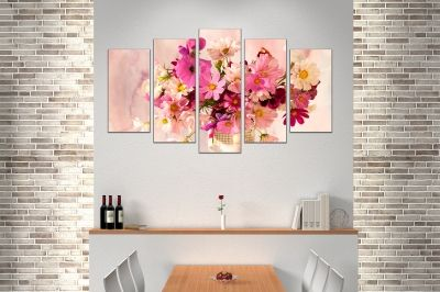 canvas print decoration with beautiful flowers