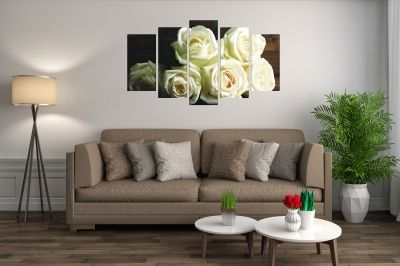 0164 Wall art decoration (set of 5 pieces) White roses