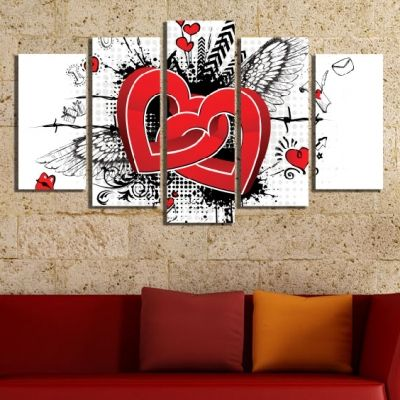 0083 Wall art decoration (set of 5 pieces) Hearts