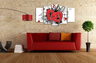Canvas art 5 pieces Hearts