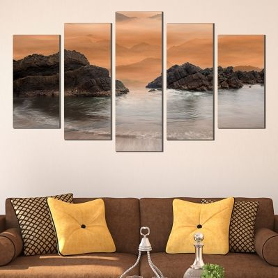 wall art canvas decoration set with rocks in the sea