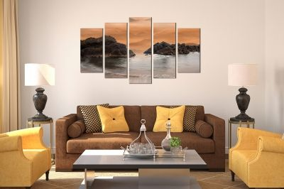 canvas print decoration in brown with rocks in the sea