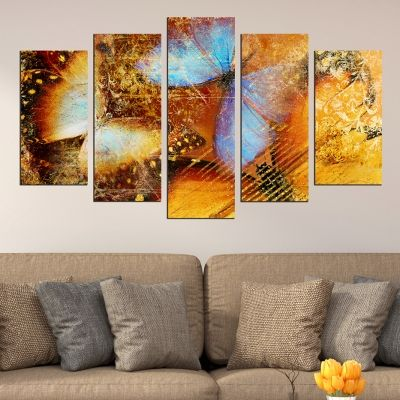 0449 Wall art decoration (set of 5 pieces) Butterflies