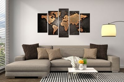 Wall art panels decoration 5 pices ancient map in brown