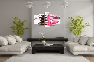 Zen canvas art with orchid and stones