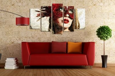 Fashion canvas art with beautiful woman with mask