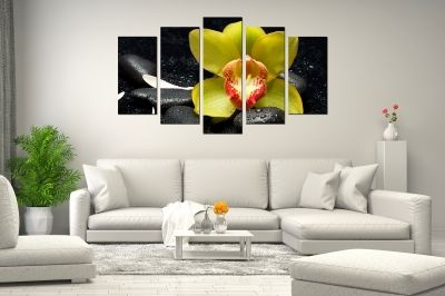 Zen canvas art with yellow orchid