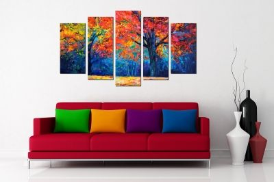 Art canvas decoration for wall with colorful lanscape
