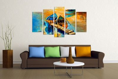Art canvas decoration for wall with sea landscape