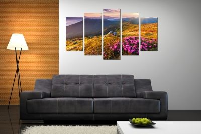 canvas print decoration in with mountain landscape with flowers