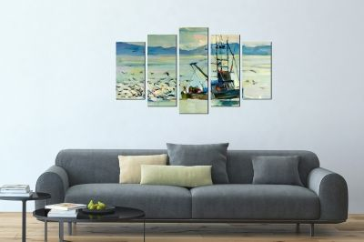Art canvas decoration - reproduction sea landscape with fishing boat