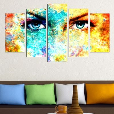 Abstract canvas art with eyes of a woman