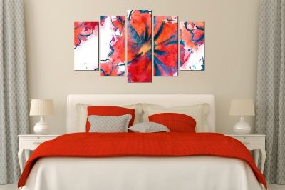 Canvas art Abstract flowers in orange and red