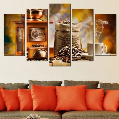 0473 Wall art decoration (set of 5 pieces) Coffee