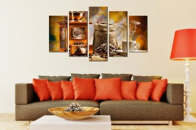 Art canvas decoration for wall with cofee