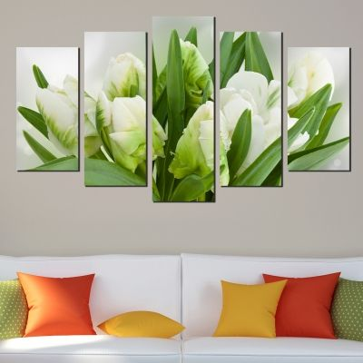 Canvas art set Tulips in white and green