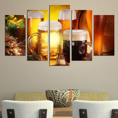 0478 Wall art decoration (set of 5 pieces) Beer