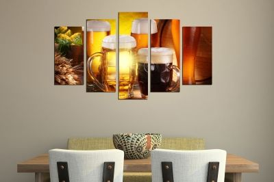 Art canvas decoration with beer