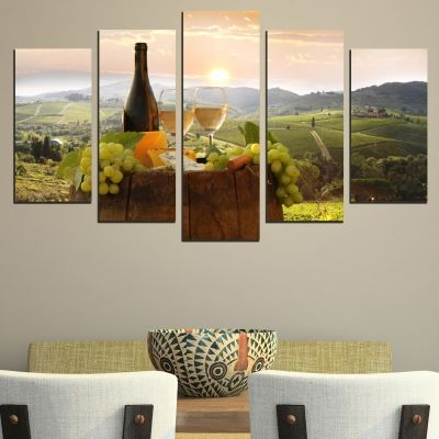 Canvas art set for restaurant with white wine