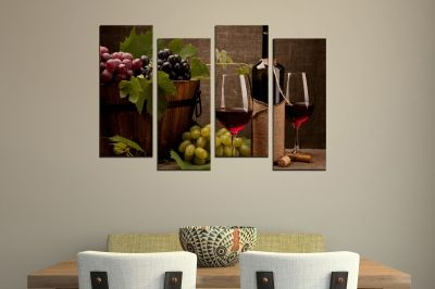 Wall  decoration for kitchen with red wine and grapes