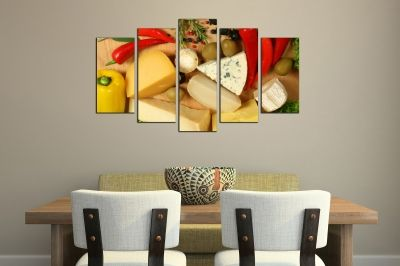 Art canvas decoration with cheese