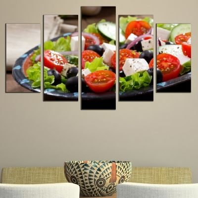 Canvas art set for restaurant Mediterranean salad