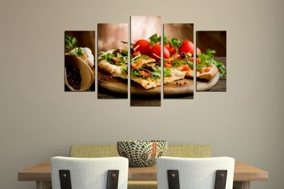 Art canvas decoration for restaurant with pizza