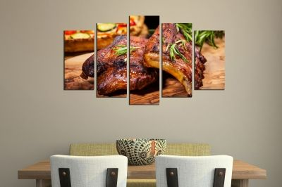 Art canvas decoration for restaurant with BBQ