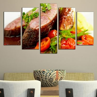 Canvas art set for restaurant Meat