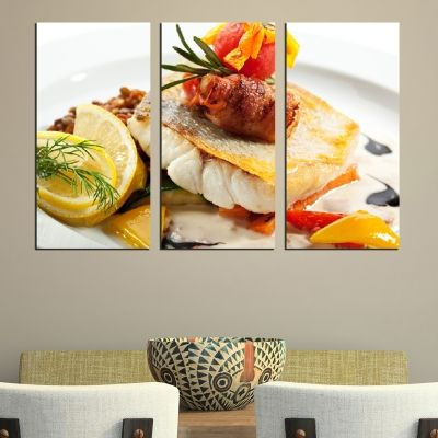 0493 Wall art decoration (set of 3 pieces) A fish specialty