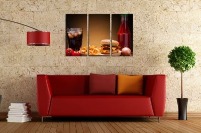 Wall art panels for fast food restaurant with burger