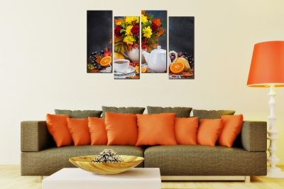 Wall  decoration for kitchen with flowers and tea