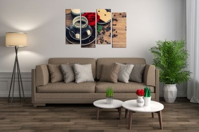 Wall  decoration for kitchen with red rose and coffee
