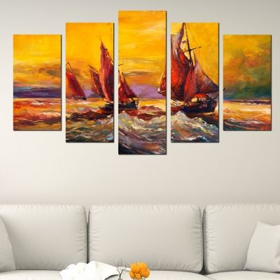 0503 Wall art decoration (set of 5 pieces) Sea landscape with boats