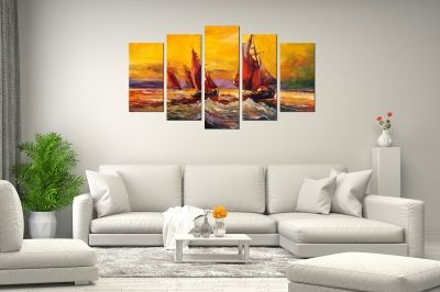 Art canvas decoration - reproduction sea landscape boats yellow and red