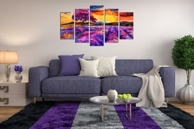 Art canvas decoration - reproduction landscape in purple