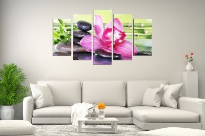 Zen canvas art composition with orchid and stones