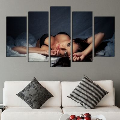 Erotic canvas wall art set with beautiful woman