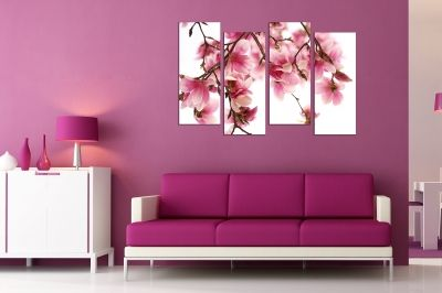 Wall  decoration for living room with beautiful magnolia
