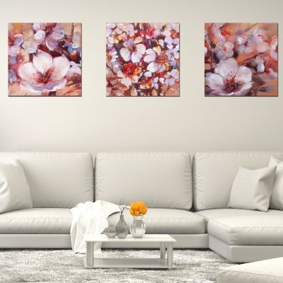 0515 Wall art decoration (set of 3 pieces) Almond blossom