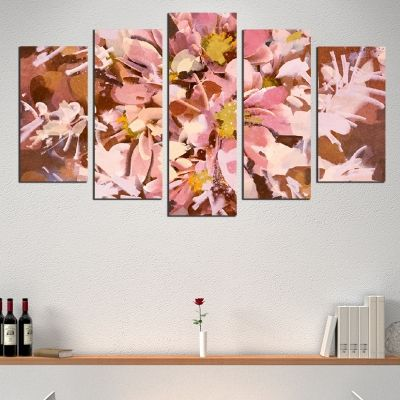 0516 Wall art decoration (set of 5 pieces) Abstract flowers