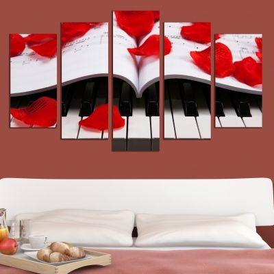 0058 Wall art decoration (set of 5 pieces) Piano