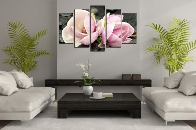Zen canvas art composition with magnolias for living room