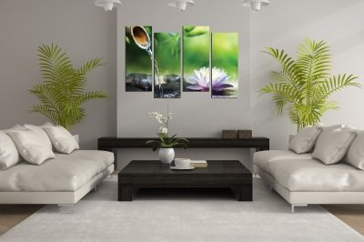 Wall  decoration zen flower and stones green