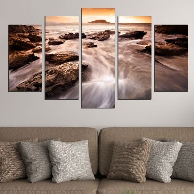 0525 Wall art decoration (set of 5 pieces) Sea landscape in brown