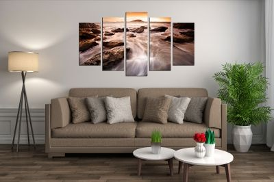 canvas wall art set sea landscape with stones