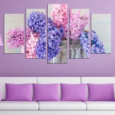 0527 Wall art decoration (set of 5 pieces) Spring flowers