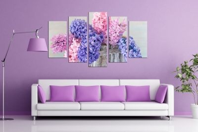 Spring flowers canvas art set of 5 pieces