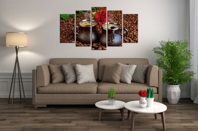Art canvas decoration Composition coffee and rose