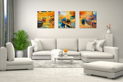 Set of 3 painting for wall decoration Boats sea landscape blue, orange, yellow